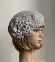 PDF CROCHET PATTERN Bewitching Beatrice Beret grey crochet flower hat cap beanie tutorial. $4.99, via Etsy.