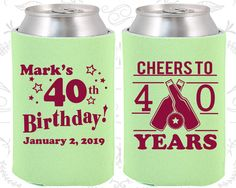 40th Birthday, 40th Birthday Party, Cheers to 40 years, Beer Birthday Party, Birthday Can Coolers, Birthday Coolies (20162)