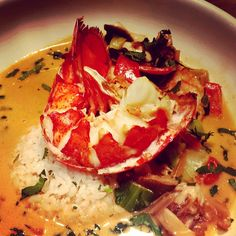 """""""Lobster curry with bok choy and coconut @BR Brooklyn tonight"""""""