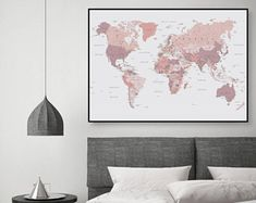 Printable Art, Downloadable, Map of World, Map, World Map, Pink and Grey, Blush Pink, Poster, Print, Wall Art, Bedroom Decor, Grey Bedroom