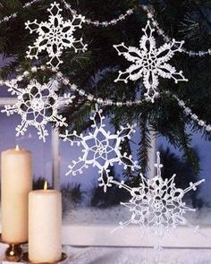 Snowflakes Lace Crochet Pattern from Leisure Arts. http://www.leisurearts.com/products/holiday-snowflakes-lace-crochet-ornament-patterns-digital-download.html
