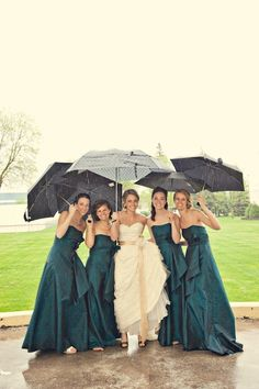 Rain Wedding Day Bridesmaids