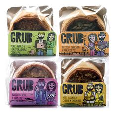 Grub Pies Illustrations by Marcus Oakley. Let's grab some grub for lunch! Bean Pie, Packaging Design Inspiration, Branding Ideas, Pretty Packaging, Gelato, Illustration, Typography, Yummy Food, Beautiful