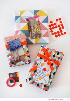 DIY gift tags and wrapping from magazines and catalogues by The Red Thread.