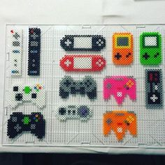 Gaming controllers perler beads by Jake Tastic Easy Perler Bead Patterns, Melty Bead Patterns, Perler Bead Templates, Diy Perler Beads, Perler Bead Art, Pearler Beads, Fuse Beads, Beading Patterns, Pixel Art Objet