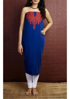 Egyptian Blue Summer cool Kashmiri Hand Emboidered Cotton Dress Material Set