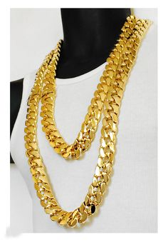 Details about  /18k Yellow Gold Men/'s Womens Cuban Wide 4mm Link Chain Necklace w Gift Pkg