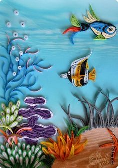 Painting mural drawing on Quilling Paper Quilling seabed band photo 6 3d Quilling, Quilling Animals, Paper Quilling Patterns, Quilled Paper Art, Quilling Tutorial, Quilling Paper Craft, Paper Crafts, Quilling Ideas, Paper Birds
