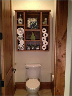 super Ideas diy bathroom cabinet over toilet storage ideas Pallet Wall Bathroom, Bathroom Shelf Decor, Bathroom Storage Shelves, Bathroom Organisation, Bathroom Ideas, Pallet Walls, Bathroom Cabinets, Bathroom Vanities, Bathroom Canisters