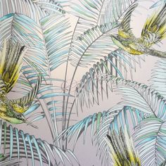 Matthew Williamson Eden Wallpapers Sunbird W6543-05 Metallic Silver Lemon and Soft Jade