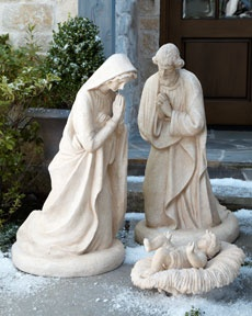 Life sized Holy Family. Stonecast, garden decor