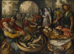 Joachim Beuckelaer : Fish Market with Ecce Homo (Nationalmuseum - Stockholm (Sweden - Stockholm)) ヨアヒム・ブーケラール Visual Literacy, Dutch Golden Age, Renaissance Fashion, High Fantasy, North Africa, Ancient Art, 16th Century, African Art, Landscape Paintings