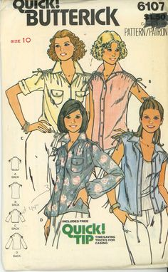 Butterick 6107 1980s top Blouse Vintage Pattern drawstring hippie Size 10 Uncut - Women