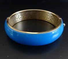 Vintage Metal Hinge Bracelet with Blue Lucite Insert