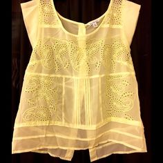 Yellow Spring Top! This beautiful top is perfect for spring & summer. See through with back buttons. AE size M American Eagle Outfitters Tops Blouses