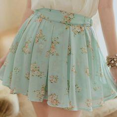 Mint floral skater skirt