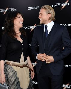 'Pacific Rim' premiere at the Dolby Theatre in Hollywood, California on July 9, 2013.Pictured: Charlie Hunnam and Katey Sagal..