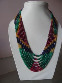 wholesale 6strands14-17 inch Genuine Multi Precious Emerald RubySapphire3-5mm Micro faceted Rope necklace  weight 330cts Un-beleivable price