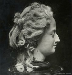 A wax head depicting Marie Antoinette 'after the guillotine,' possibly made after or from a wax head mold created by Madame Tussaud.