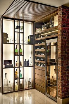 This custom bar will be the center piece for all of your parties and holiday gatherings! This bar features a Chicago bar rail, large Wine storage X and industrial metal fo Corner Closet Shelves, Closet Door Storage, Kitchen Wall Shelves, Wall Storage, Wall Pantry, Wine Shelves, Storage Area, Book Shelves, Shoe Storage