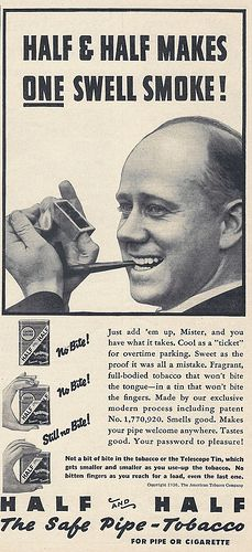 """Vintage Tobacciana Advertising - Half And Half Pipe Tobacco, """"The Safe Pipe Tobacco"""", From Popular Science Magazine, June 1936."""