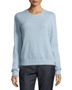 Donegal Cashmere Crewneck Sweater, Blue by ED by Ellen at Bergdorf Goodman.