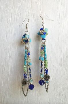 Blue Turquoise Sea Green Glass Silver Beaded by VenganzyJewelry, $14.00