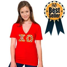 V-Neck Sorority Tee with Horizontal Twill Letters - American Apparel 2456 - TWILL