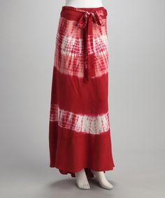 Take a look at this Burgundy Tie-Dye Wrap Skirt by Unleash Fashion on #zulily today!
