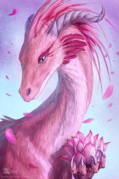 Lotus Dragon by Azany on DeviantArt Pink dragon Valentine day dragon Sakura dragon Idk which is it XD lol Dark Fantasy Art, Beautiful Fantasy Art, Fantasy Kunst, Fantasy Artwork, Final Fantasy, Fantasy Wizard, Fantasy Drawings, Mythical Creatures Art, Mythological Creatures