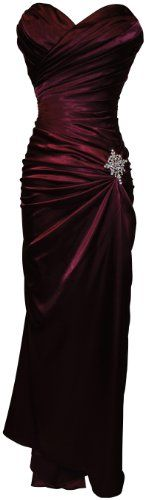 Amazon.com: Strapless Long Satin Bandage Gown Bridesmaid Dress Prom Formal Crystal Pin: Clothing  $79