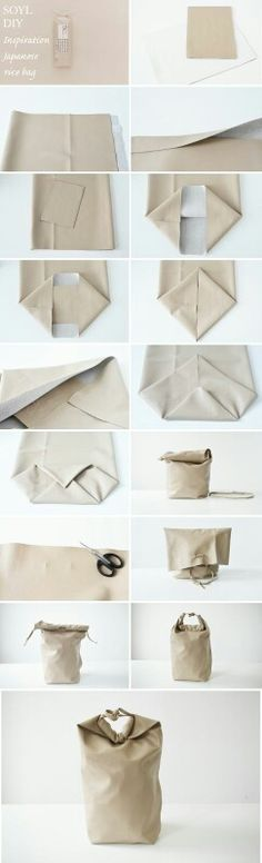 DIY Bag Kenya Hara inspired Japanese rice packaging Out of leather? Rice Packaging, Diy Sac, Japanese Rice, Japanese Bags, Ideias Diy, Leather Craft, Diy Fashion, Fall Fashion Outfits, Autumn Fashion