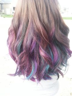 Brown hair with purple, red violet, and turquoise highlights - I want this