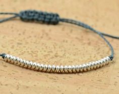 Silver Beaded bracelet by Zzaval on Etsy