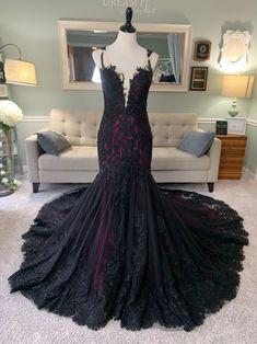 Purple Wedding Gown, Colored Wedding Gowns, Wedding Dress Styles, Lace Wedding, Wedding Dress Illusion Back, Illusion Dress, Elegant Bride, Gothic Wedding, Lace Dress Black