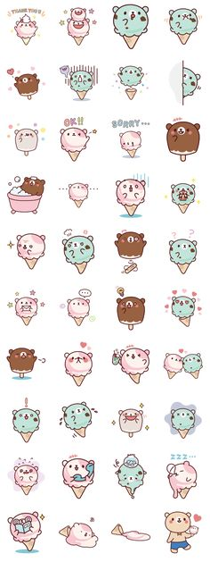 Kawaii Images of ice cream cats! Kawaii Stickers, Cute Stickers, Kawaii Drawings, Cute Drawings, Griffonnages Kawaii, Crochet Kawaii, Cartoon Mignon, Art Mignon, Kawaii Doodles