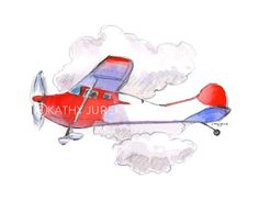 Red Airplane Print