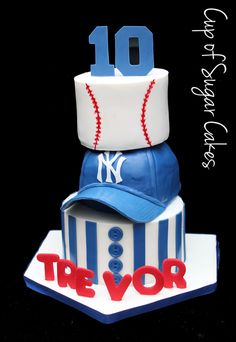 New York Yankees birthday cake. Icing smiles. Baseball cake. Baseball cap cake. Cup of Sugar Cakes.