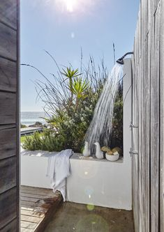 Coastal Style Ideas From A Cape Town Beach House Photography By Beach Cottage Style, Coastal Cottage, Coastal Homes, Beach House Decor, Coastal Style, Coastal Living, Cottages By The Sea, Beach Cottages, Outdoor Pool Shower