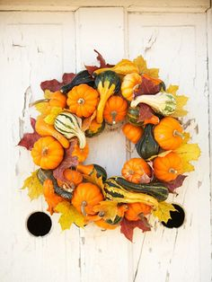 Pumpkin and gourd wreath for the fall!