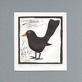 'Blackbird' Linocut Print