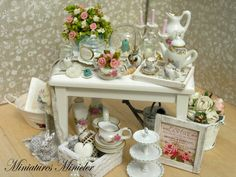 Miniature Dollhouse Shabby Chic Room  Kit  Set Scale by Minicler