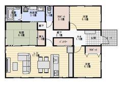 27坪3LDK和室がリビングに開放する平屋の間取り | 平屋間取り