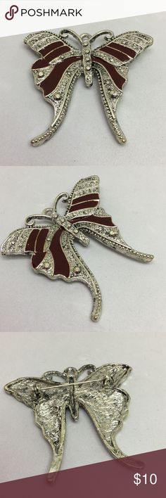"""🆕Vintage Silver & Burgundy Butterfly Pin A 1 3/4"""" x 2"""" silver butterfly pin with deep burgundy enamel. Textured to have a """"marcasite"""" look to it. Has some weight to it and is nicely made! A butterfly that will work easily with Fall colors! Vintage Jewelry Brooches"""