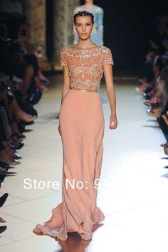 Long Pink Beaded Chiffon Evening Dress