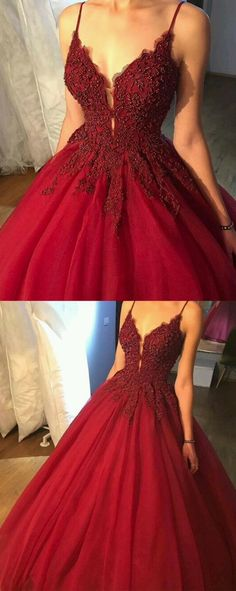 Spaghetti Straps Wine Red Prom Dress,Party Dress with Beads ,Red Ball Gown from prettyladydress Spaghetti-Trägern weinrotes Abendkleid, rotes Ballkleid Prom Dresses 2018, Tulle Prom Dress, Prom Party Dresses, Evening Dresses, Formal Dresses, Long Dresses, Red Dress Prom, Formal Prom, Nice Prom Dresses