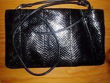 Magid gloss black snake skin zippered top shoulder bag evening bag