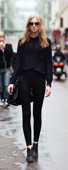 #fall #fashion / black + black