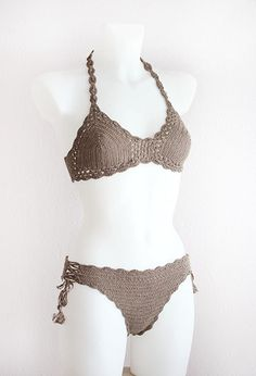 Set of crochet bikini and bottom with tassels in camel/grey color. Retro, boho chic style. Sure to be a favorite on the beach or at the pool. The bra cups