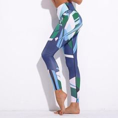 0b395d8c4 Printed Blue Workout   Yoga Leggings for Women